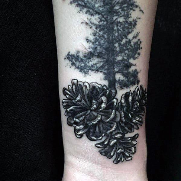 Guys Tree With Pine Cones 3d Wrist Tattoos