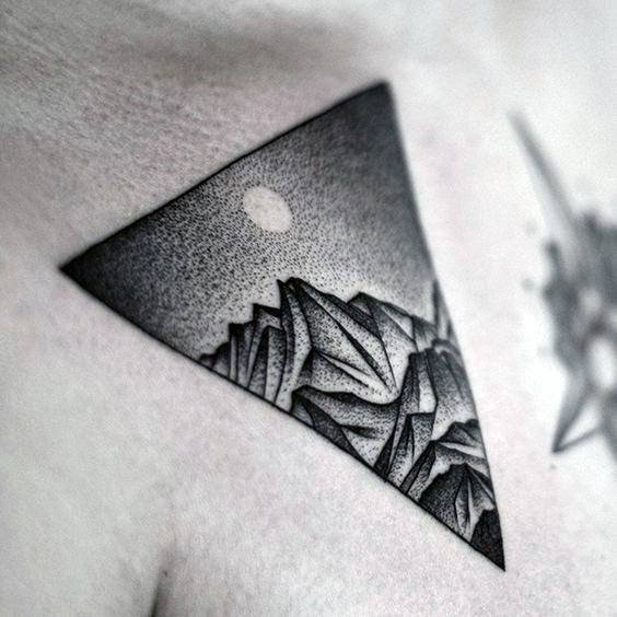 Guys Triangle Dotwork Mountain Night Sky With Moon Nature Chest Tattoo