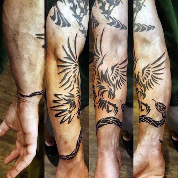 Guys Tribal Bird Snake Forearm Tattoo