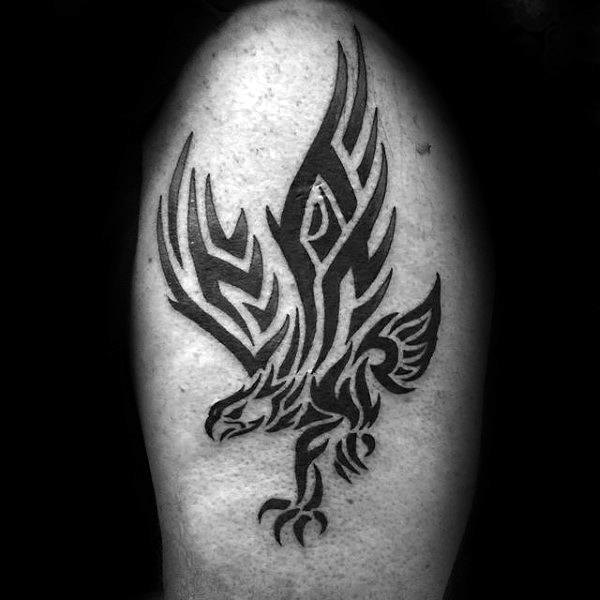 Guys Tribal Eagle Upper Arm Black Ink Tattoo Ideas