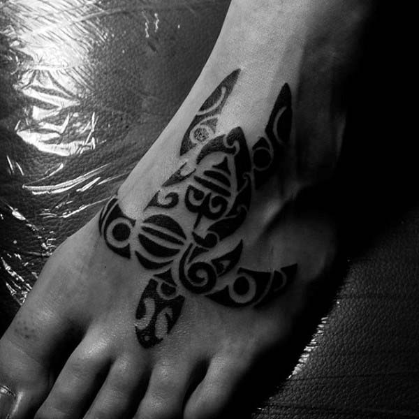 Guys Tribal Foot Turtle Tattoos
