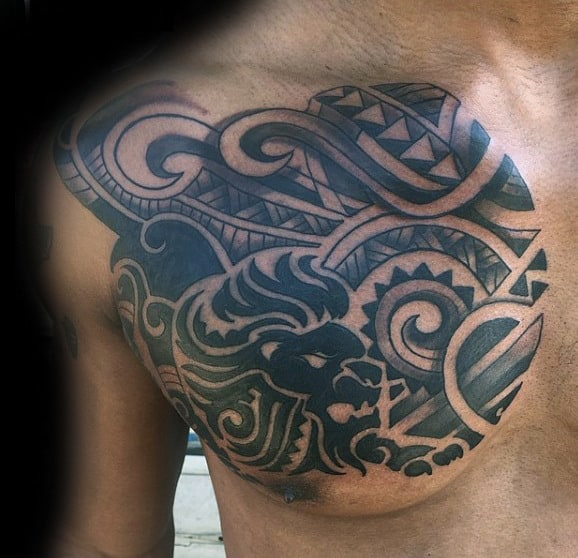 Guys Tribal Lion Polynesian Chest Tattoo