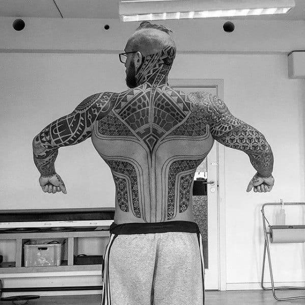 Guys Tribal Neck Tattoo Design Ideas