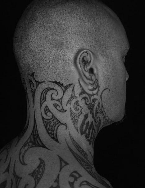Guys Tribal Neck Tattoos