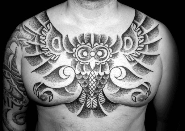 Guys Tribal Owl Dotwork Chest Tattoos