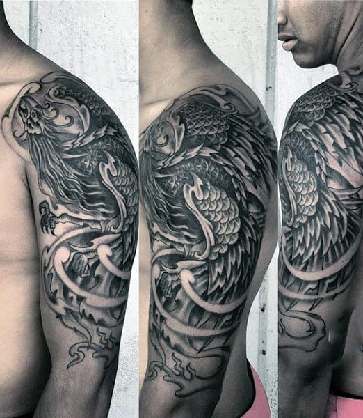60 phoenix tattoo designs for men a 1 400 year old bird. Black Bedroom Furniture Sets. Home Design Ideas