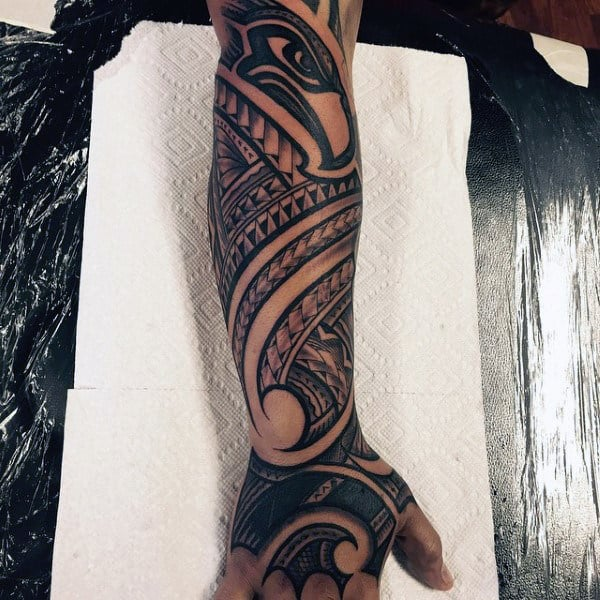 Guys Tribal Seattle Seahawks Football Sleeve Tattoo