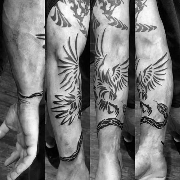 Guys Tribal Snake Eagle Forearm Tattoos