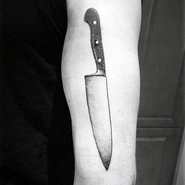 Guys Tricep Chef Knife Tattoo
