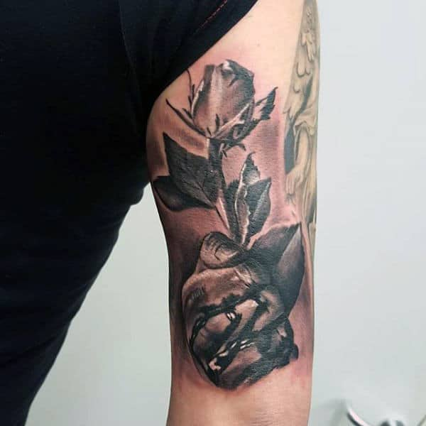 Guys Triceps Hand With Rose Tattoo