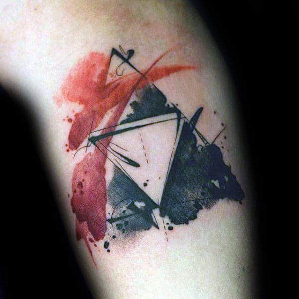 Guys Triforce Black And Red Ink Watercolor Symbol Tattoo On Arm