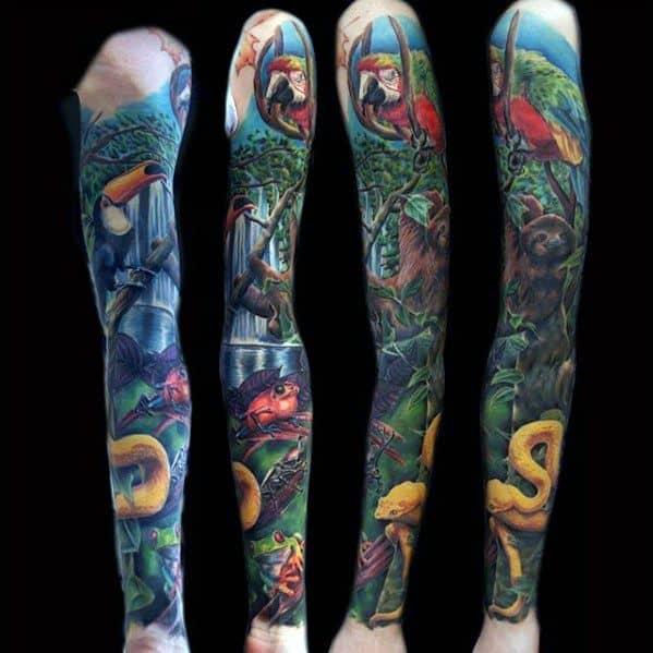 Guys Tropical Rain Forest Themed Sleeve Parrot Tattoo Deisgns