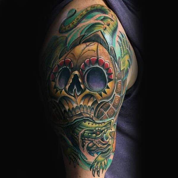 Guys Turtle Day Of The Dead Skull Upper Arm Tattoos