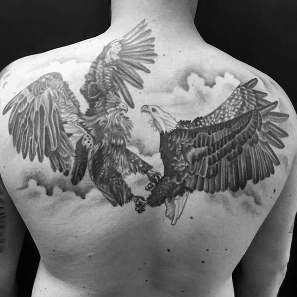 Guys Two Eagles In The Clouds Upper Back Tattoo