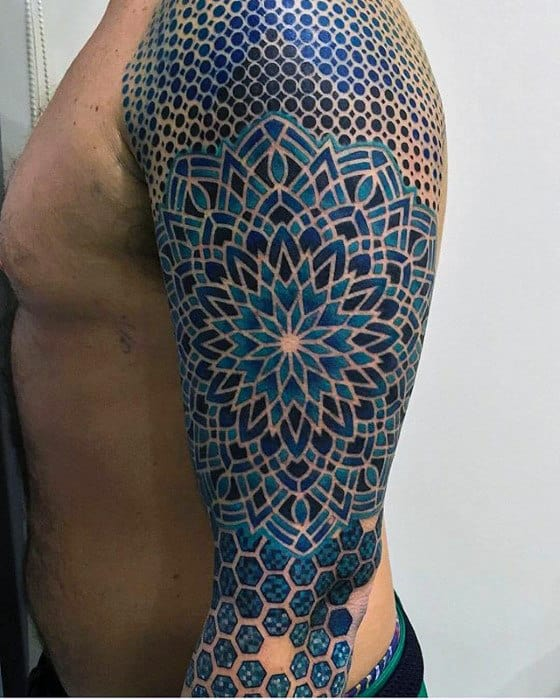 Guys Unbelievable Pattern Geometric Blue Ink Sleeve Tattoos