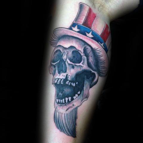 Guys Uncle Sam Skull Leg Tattoos