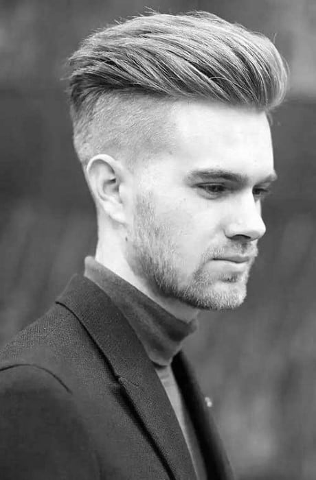 Guys Undercut Shaved Sides Pompadour Hair For Men