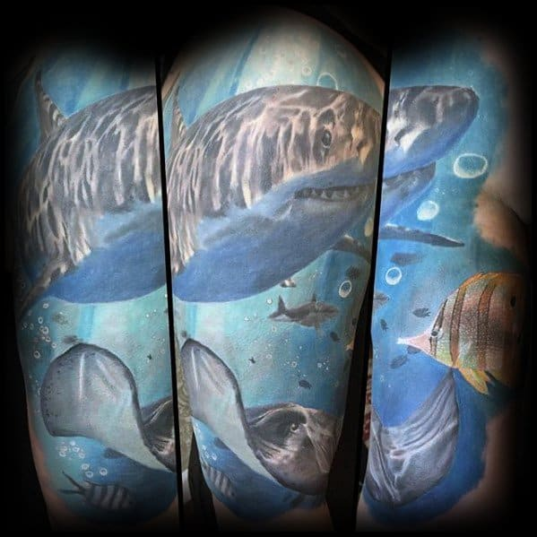 Guys Underwater Arm Half Sleeve Manta Ray Tattoo Design Ideas