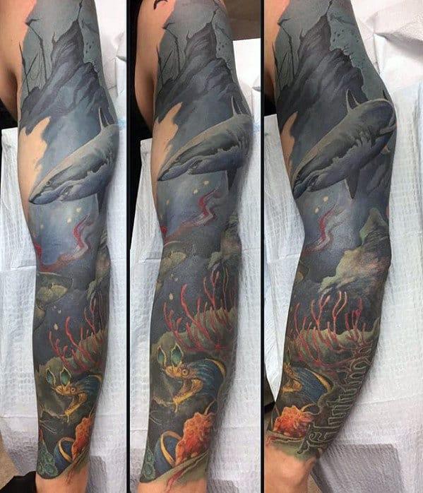 Guys Underwater Ocean Themed Shark Sleeve Tattoo