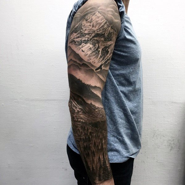 Guys Unique Arm Nature Landscape Themed Tattoo Sleeve