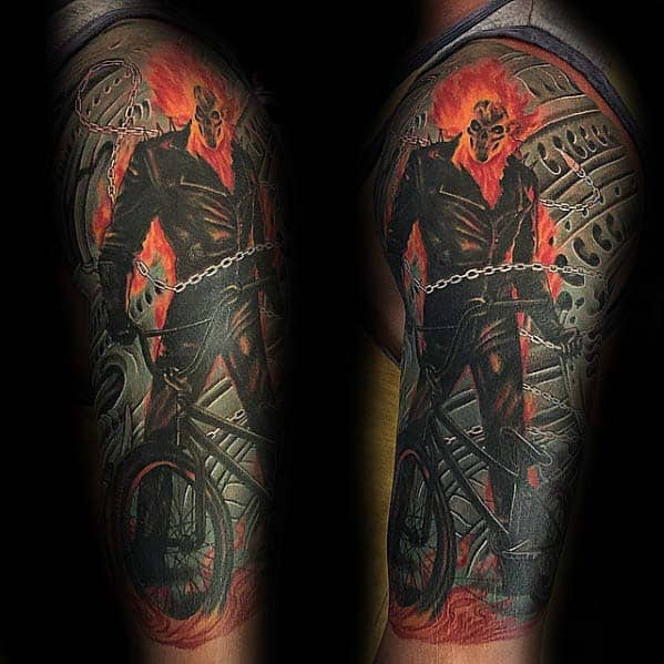 Guys Unique Bmx Half Sleeve Tattoo Designs