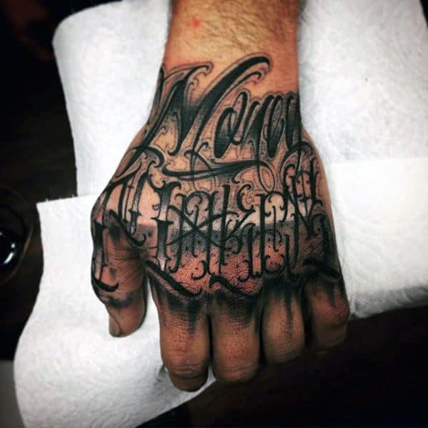 Guys Unique Hand Lettering Tattoo