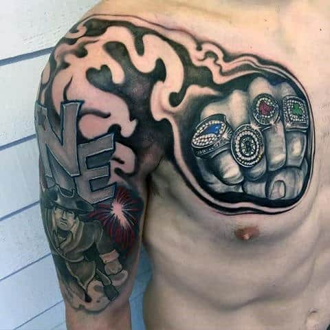 Guys Unique New England Patriots Chest And Shoulder Tattoos