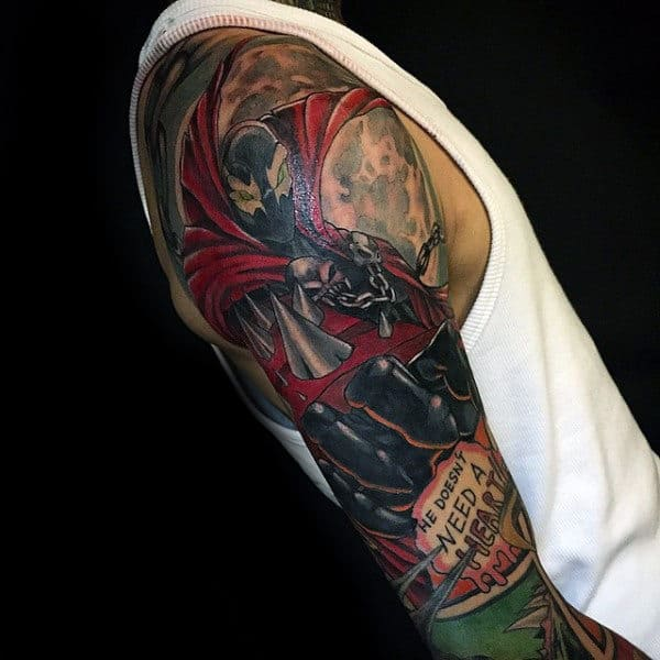 Guys Unique Spawn Themed Full Sleeve Tattoo Inspiration