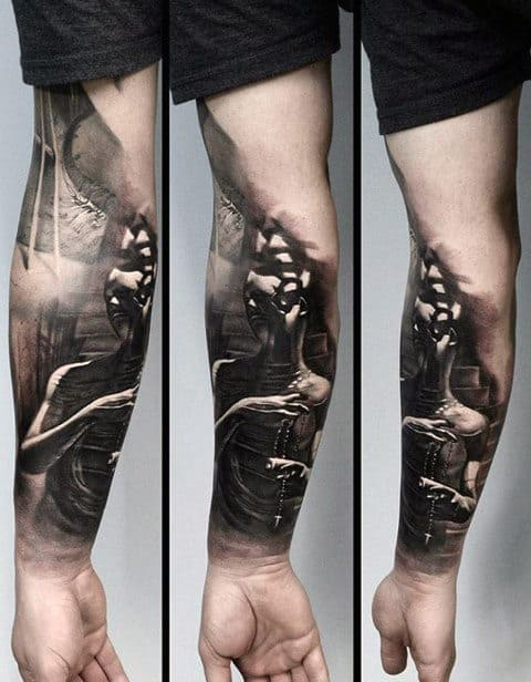 Guys Unusual Forearm Sleeve Human Figure Tattoo