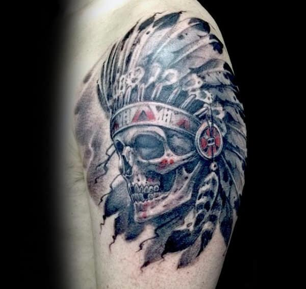 Guys Upepr Arm Indian Skull Watercolor Tattoos