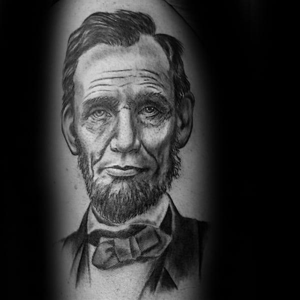 Guys Upper Arm 3d Abraham Lincoln Tattoo Deisgns