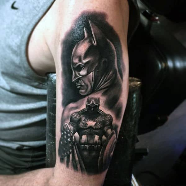 Guys Upper Arm Captain America Shaded Black Ink Tattoos