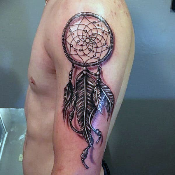 Guys Upper Arm Feather Dreamcatcher Tattoo Design Inspiration