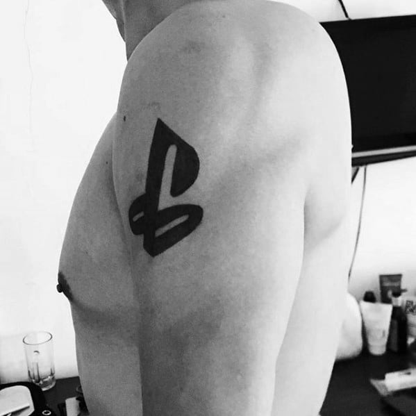 Guys Upper Arm Tattoos With Playstation Logo Design