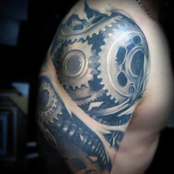 Guys Upper Arms Cool Grey Gears Tattoo