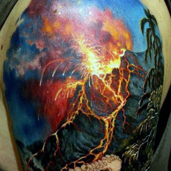 Guys Upper Arms Fire Blast Manly Tattoo