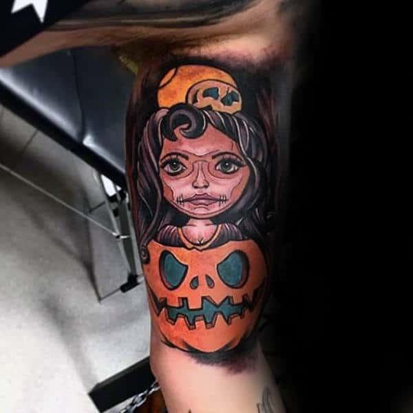 Guys Upper Arms Girl And Halloween Pumpkin Tattoo