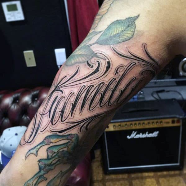 Guys Upper Arms Green Leaved Family Tattoo