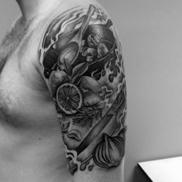 Guys Upper Arms Grey Culinary Vegetables Tattoo