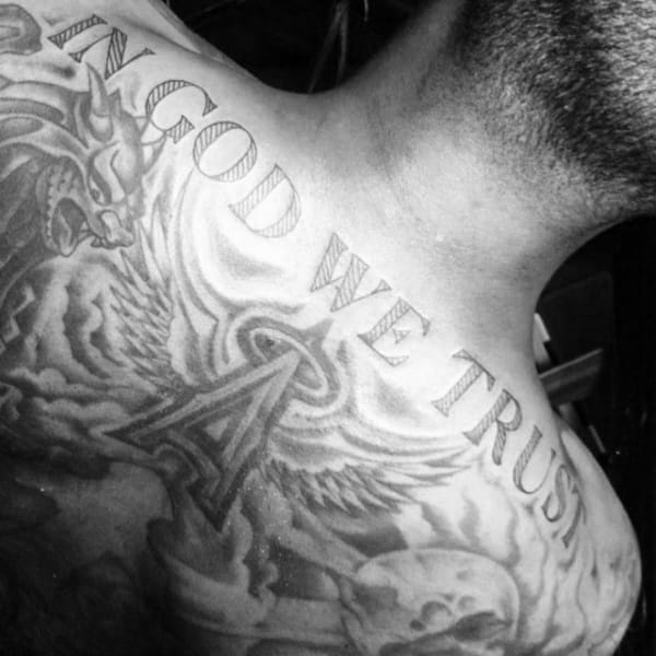 Guys Upper Back In God We Trust Word Tattoo Designs