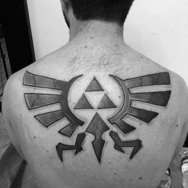 Guys Upper Back Shaded Zelda Triforce Video Game Tattoo