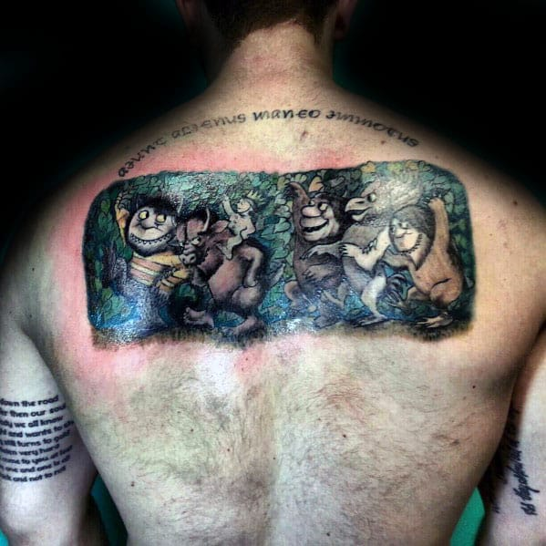 Guys Upper Back Where The Wild Things Are Tattoo Ideas