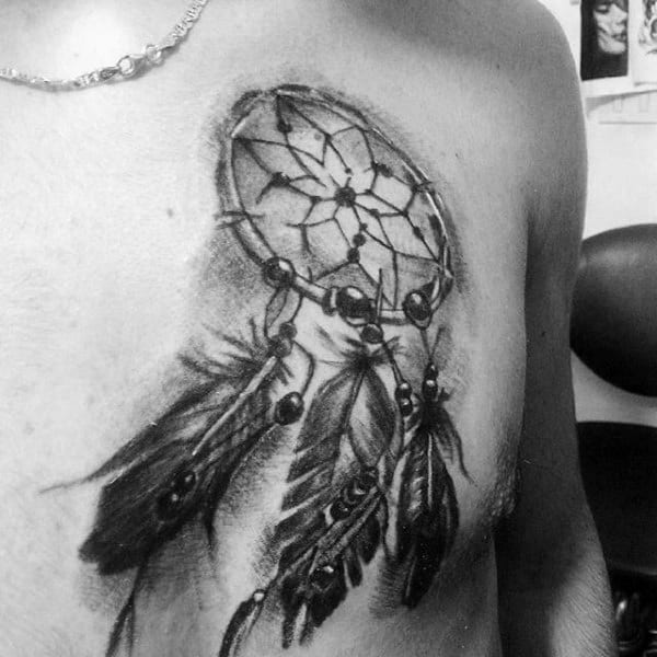 Guys Upper Chest Dreamcatcher Tattoo Designs