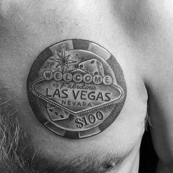 Guys Upper Chest Las Vegas Poker Chip Tattoos