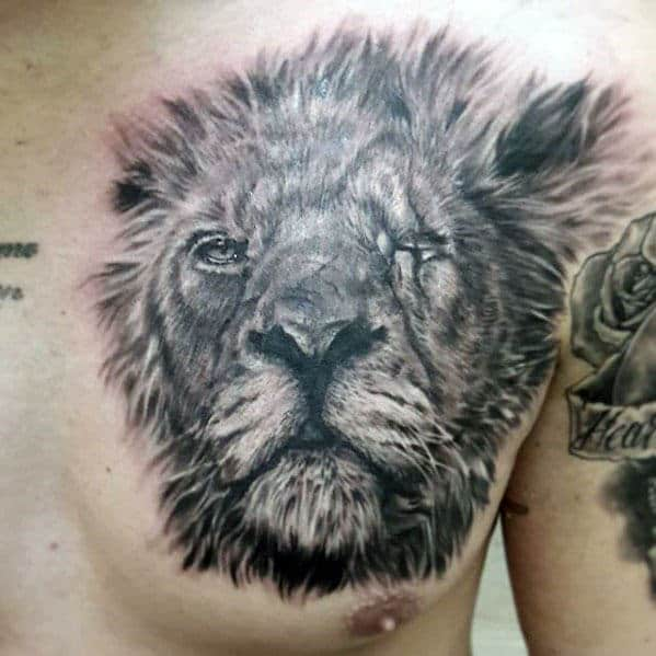 Guys Upper Chest Shaded Realistic Lion Tattoo