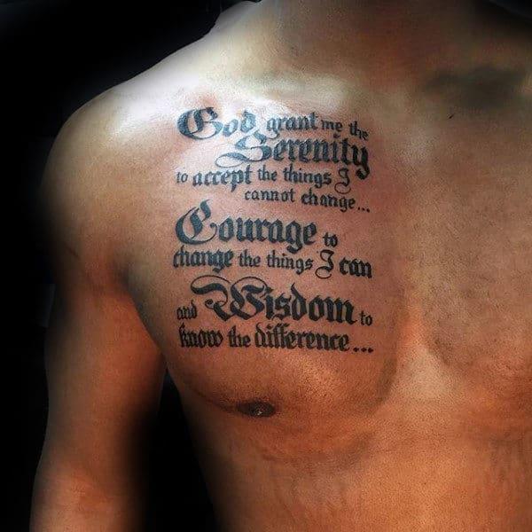 50 Serenity Prayer Tattoo Designs For Men