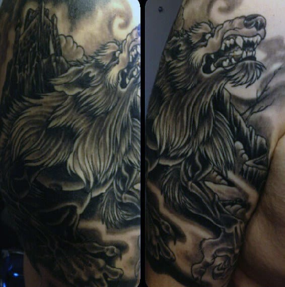 Guys Upperarms Hairy Werewolf Tattoo