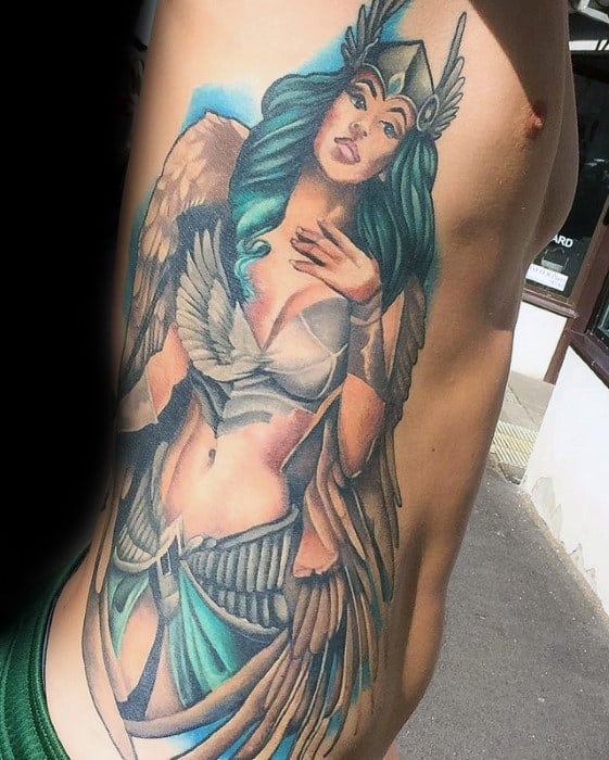 Guys Valkyrie Tattoo Design Ideas On Rib Cage Side Of Body