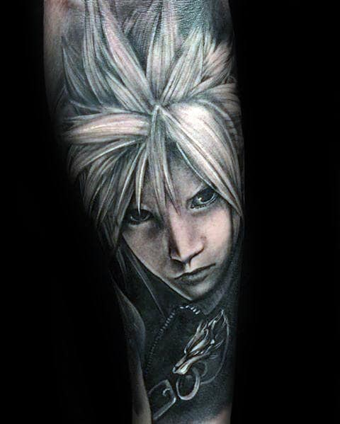 guys video game final fantasy cloud strife forearm sleeve tattoo