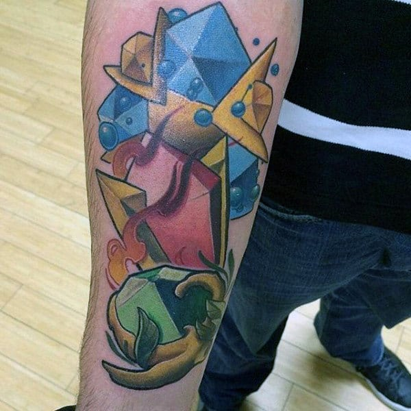 Guys Video Game Spiritual Stones Zelda Lower Forearm Tattoo
